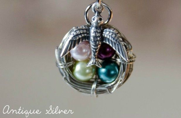 GroopDealz | Bird's Nest Birthstone Necklaces