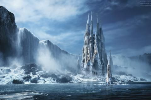 얼음 바다 작품 사그라 다 파밀리아 폭포 사원- 이미지 1440x900