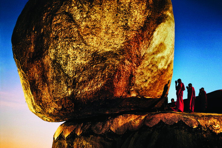 """  Steve McCurry - fine art prints - Monks Pray at Golden Rock, Burma. This is part of: ""The–Elusive–Muse"" """