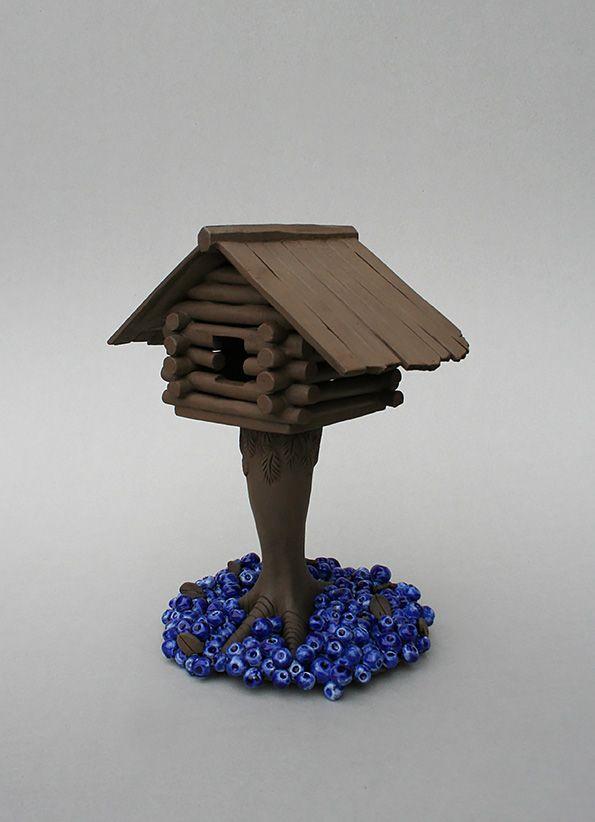 Handbuilt sculpture mixing fairy tales and northern tradition. By Aura Kajas, 2017. Unique piece. Art. Ceramics.