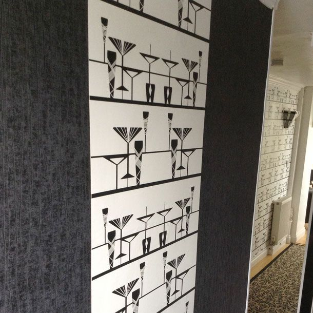 Manhattan bar art deco wallpaper design by atadesigns installed for residential project independent hotel show