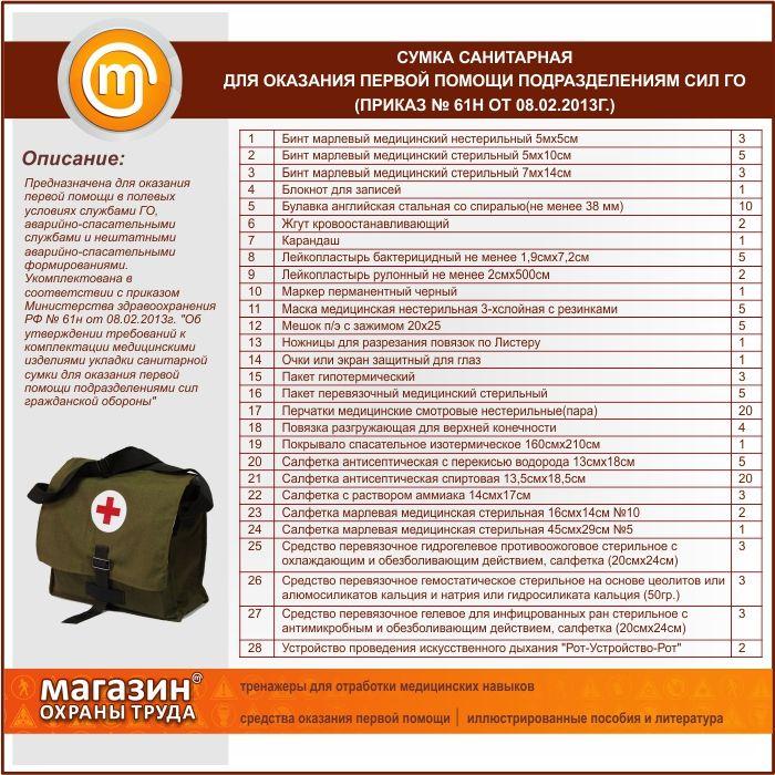 Сумка санитарная для оказания первой помощи подразделениям сил ГО (приказ № 61н от 08.02.2013г.)
