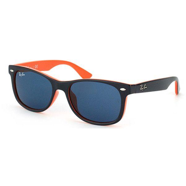 Ray Ban Jr Ray-Ban Jr Rj 9052 178/80 Blue On Orange Plastic Sunglasses... ($49) ❤ liked on Polyvore featuring accessories, eyewear, sunglasses, blue, blue sunglasses, square sunglasses, plastic glasses, hipster glasses and blue lens sunglasses