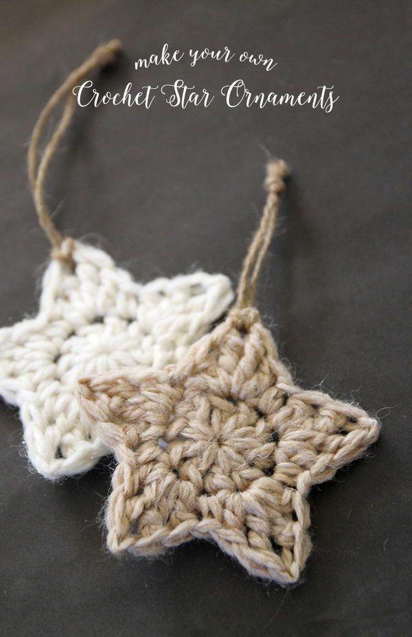 Simple Crochet Star Christmas Ornaments.
