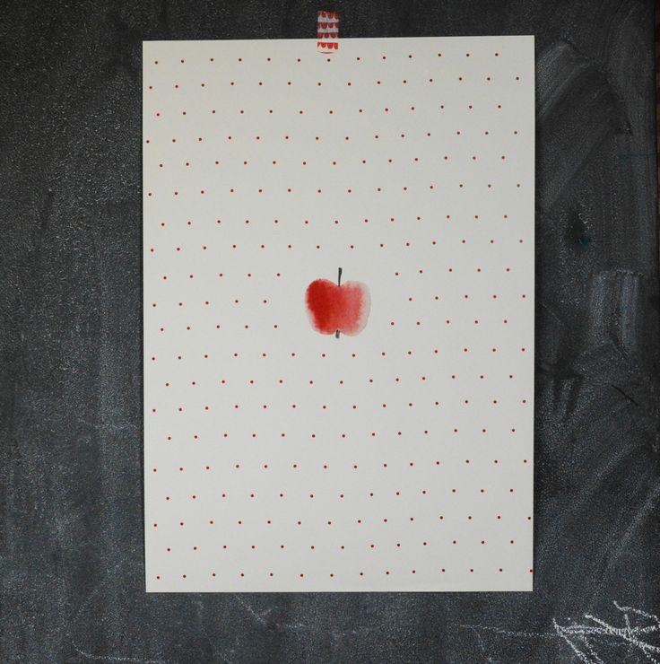 Plakát+Jablko+Z+kolekce+To+je+moje+Tištěno+na+smetanový+papír+gramáže+240+gr.+Velikost+A3