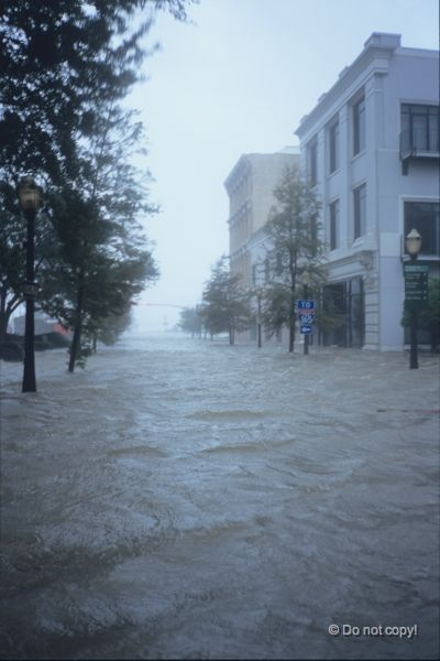 Hurricane Katrina floods downtown New Orleans.