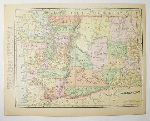 Vintage Oregon Map.1900 Map Of Washington State Vintage Oregon Map Wa Map Or Pacific