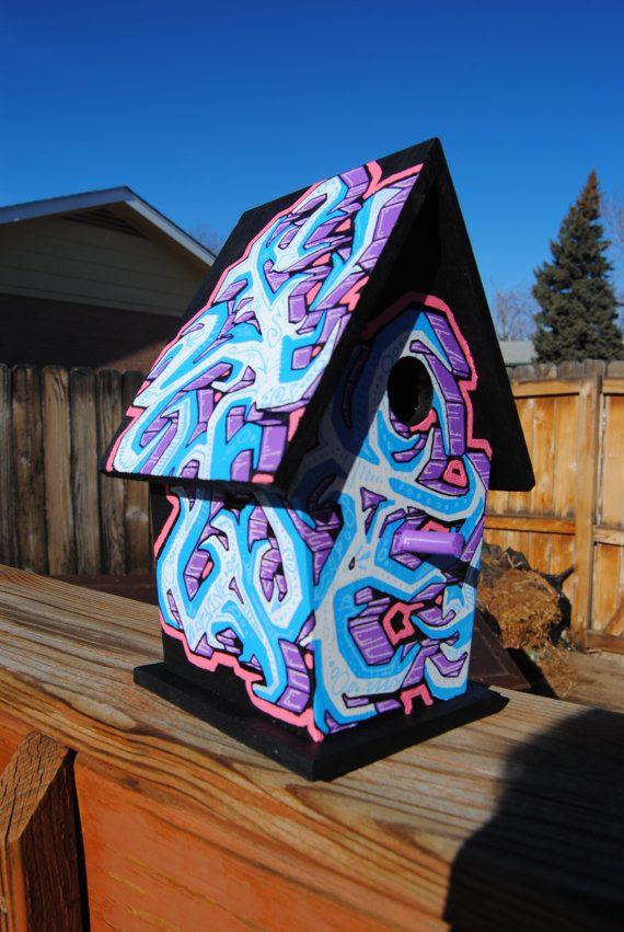A graffiti bird house for hip chicks: Birdhouses, Hands, Birdhouse Ideas, Original, Bird Houses, Birds
