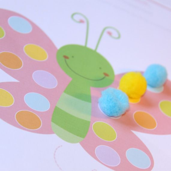 Butterfly and Caterpillar Pom Pom Play mats - lots of fun printables, some free, some not
