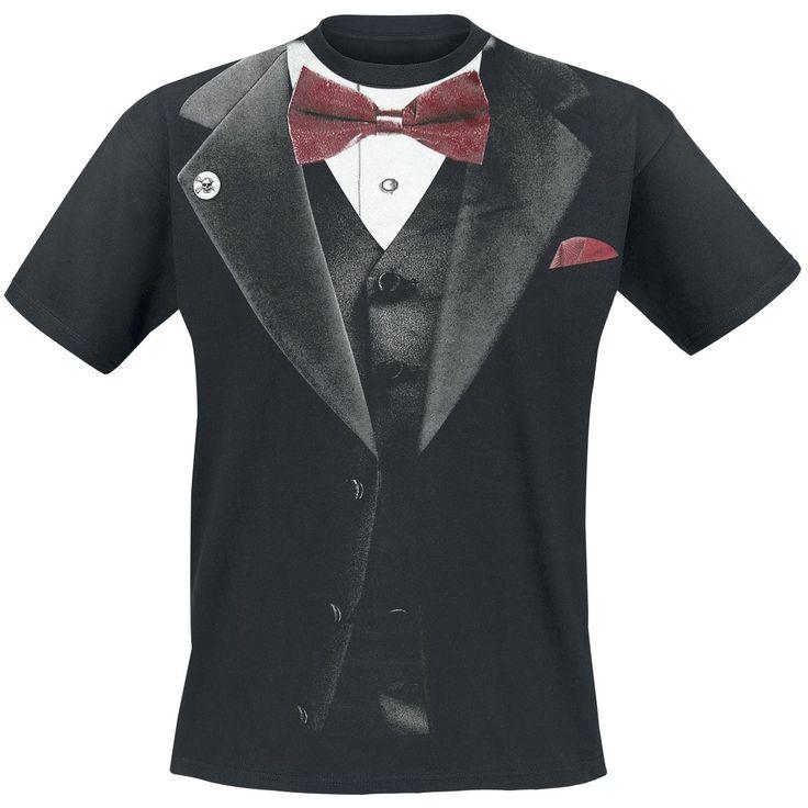 Leuk zwart ''Smoking T-Shirt'' met print van een chique smoking.