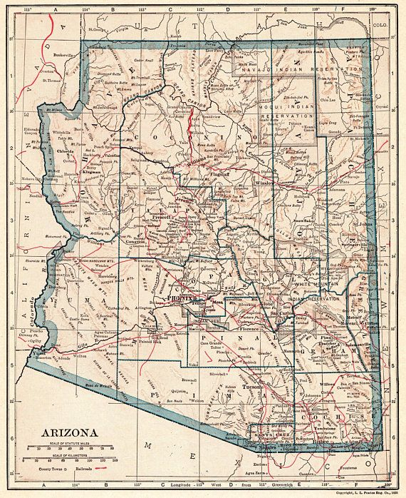 1917 Antique ARIZONA Map Vintage State Map of Arizona Gallery Wall ...