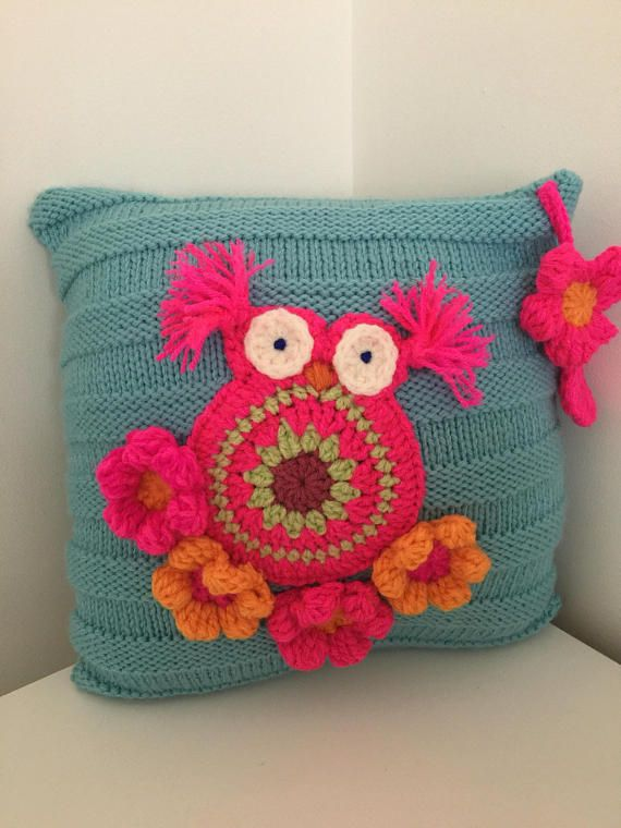 Knitted wool cushionKissen wool owl couch  pillow  with