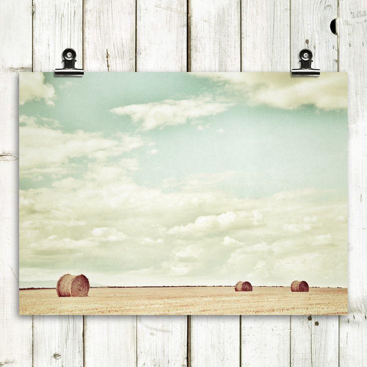 landscape photography, round bales, summer, modern home decor, country home decor, wall art- Harvest Trio - 8x10 Fine Art Photograph. $20.00, via Etsy.