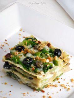 Lasagna con scarola e olive