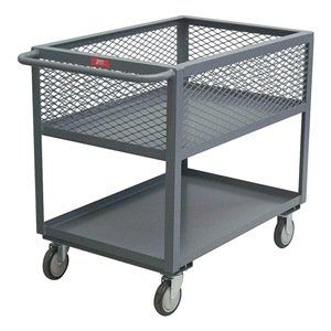 Utility Cart, 4 Mesh Sides, 2 Shelf, 18x30 by Jamco. $353.76. Utility Cart, 4 Mesh Sides, Load Capacity 1200 lb., Welded Steel Construction, Gauge Thickness 12, Powder Coat Finish, Color Gray, Overall Length 36 In., Overall Width 19 In., Overall Height 35 In., Number of Shelves 2, Caster Size 5, Caster Type 2 Rigid, 2 Swivel, Caster Material Urethane, Capacity per Shelf 600 lb., Distance Between Shelves 13 In., Shelf Length 30 In., Shelf Width 18 In., 1-1/2 In. L...