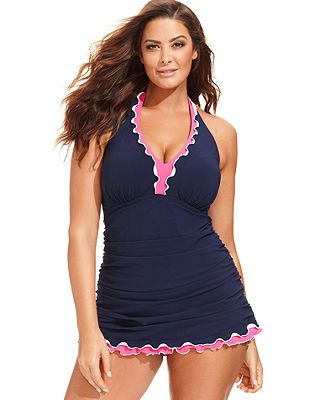 Profile by Gottex Plus Size Contrast-Color Ruffle One-Piece Swimdress - Plus Size Swimwear - Plus Sizes - Macy's