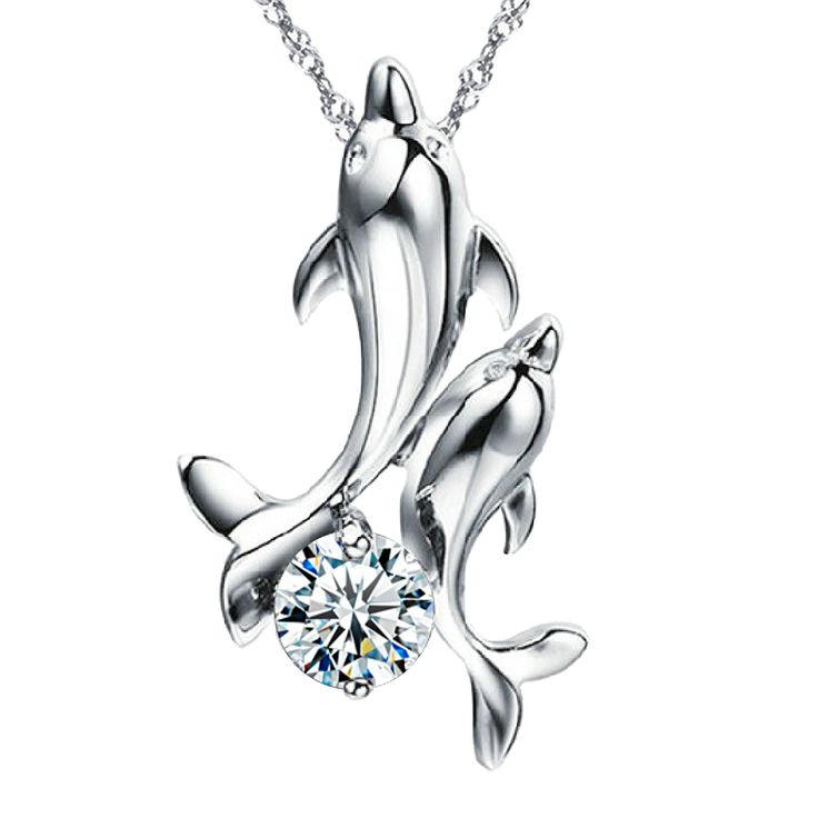 Dancing Dolphins Sterling Silver Pendant Necklace. Pendant size: 0.6 inch WIDTH * 0.9 inch HEIGHT. Singapore chain with spring-ring clasp. Length of the chain: 18 inch (45cm). Pendant and chain both are sterling silver, plated with rhodium (a member of the platinum group).