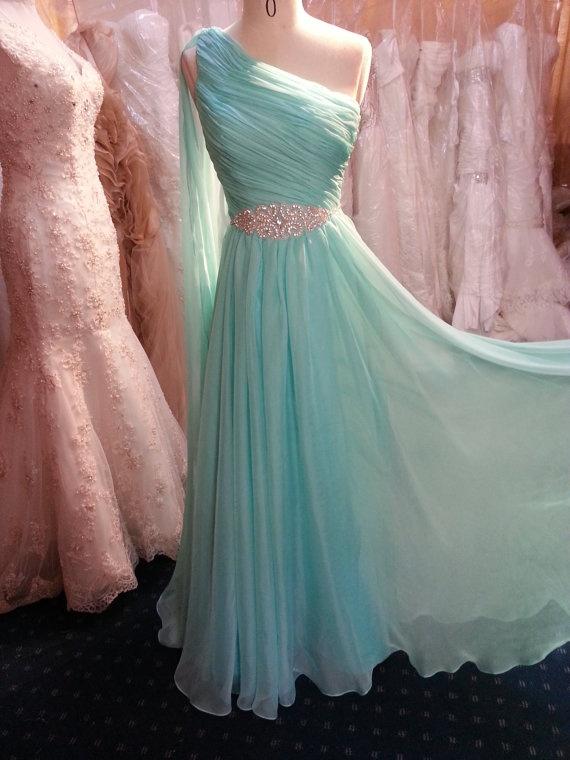 Chiffon One shoulder  Evening Dress Prom Dress by Whitesrose, $180.00