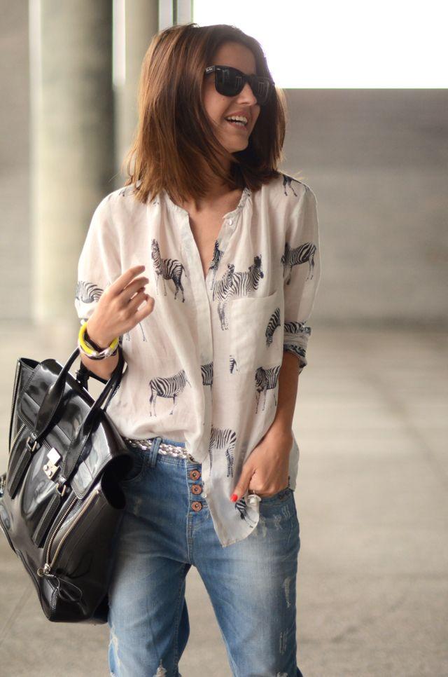 .: Zebras Shirts, Cute Style, Style Inspiration, Animal Prints, Boyfriends Jeans, Zebras Prints, Silk Blouses, Zebras Tops, Zebras Blouses