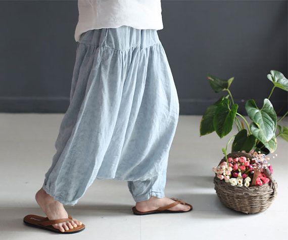 Pantalones largos lino de la entrepierna baja de verano, grandes caderas flojo Pantalones harem casual, capas de textura elástico en…