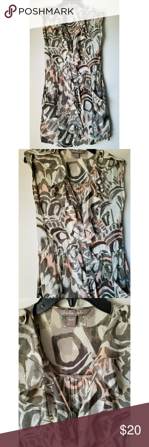 Charlie Jade 100% Silk Multicolor Dress Charlie Jade Multicolor Sleeveless Dress  V Neck/ Zipper Front  100% Silk  Size XS  Front pockets  Belt Loops (belt not included)  Button roll sleeve  Across chest- 17.5 in  Length- 34 in  *Pre-Owned...Great Condition! Charlie Jade Dresses