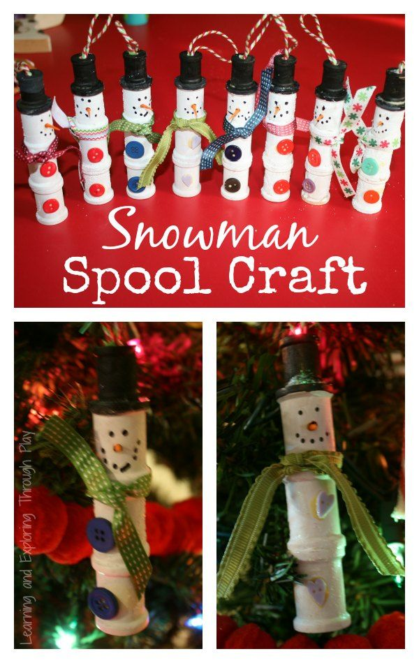 Learning and Exploring Through Play: Snowman Spool Craft