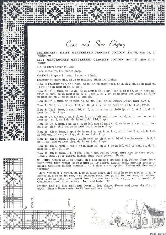cross and star, filet crochet