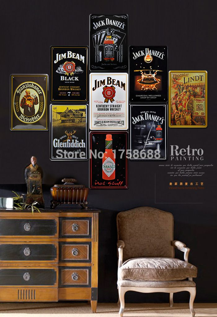 Decoration Crafts Cold Beer Painting Tin Sign Bar Pub