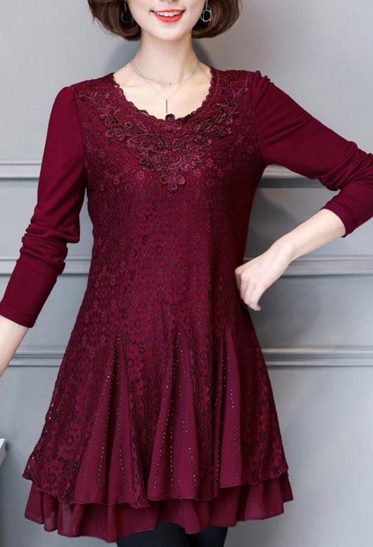 2017 cute fashion burgundy lace dresses plus size patchwork hollow out elegant dress