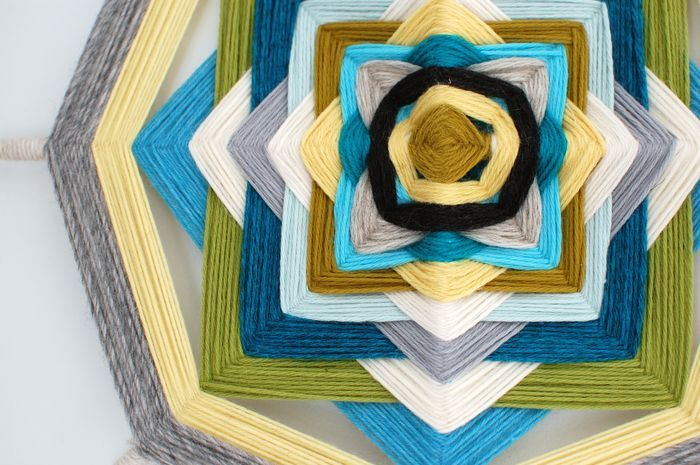 ojo de dios - post links to PDF download w/ instructions. Love this as inspiration piece/colors for my home office