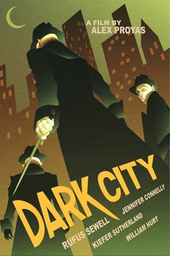 """Dark City"" movie poster by Kevin Wada  This is one of the quintessential sci-fi movies. If you like sci-fi but haven't seen Dark City, go out and rent it tonight. Or, even better, come over and watch it with me.  via machines-repaired: aliceacheron: hello-zombie: superpunch.blogspot.com"