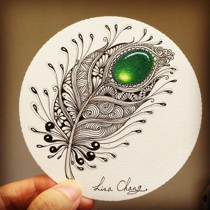 "Gefällt 681 Mal, 13 Kommentare - Lisa Chang (@lisa565998) auf Instagram: ""#Feather with #gem #Zentangle #Mandala#Lisa#Taipei…"""