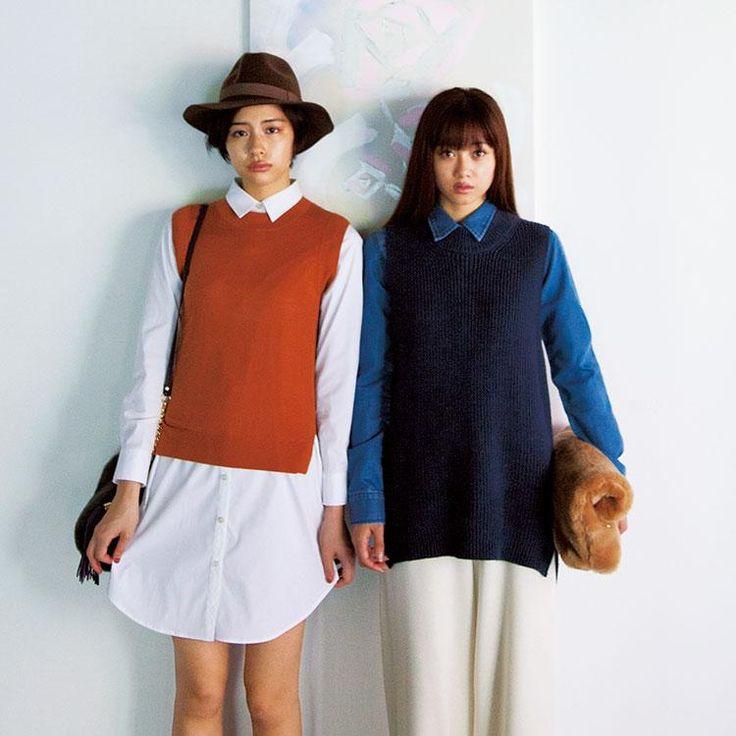 ワンピ風にするか、ロングボトムスと合わせる <オーバーサイズのシャツ秋冬ファッション>