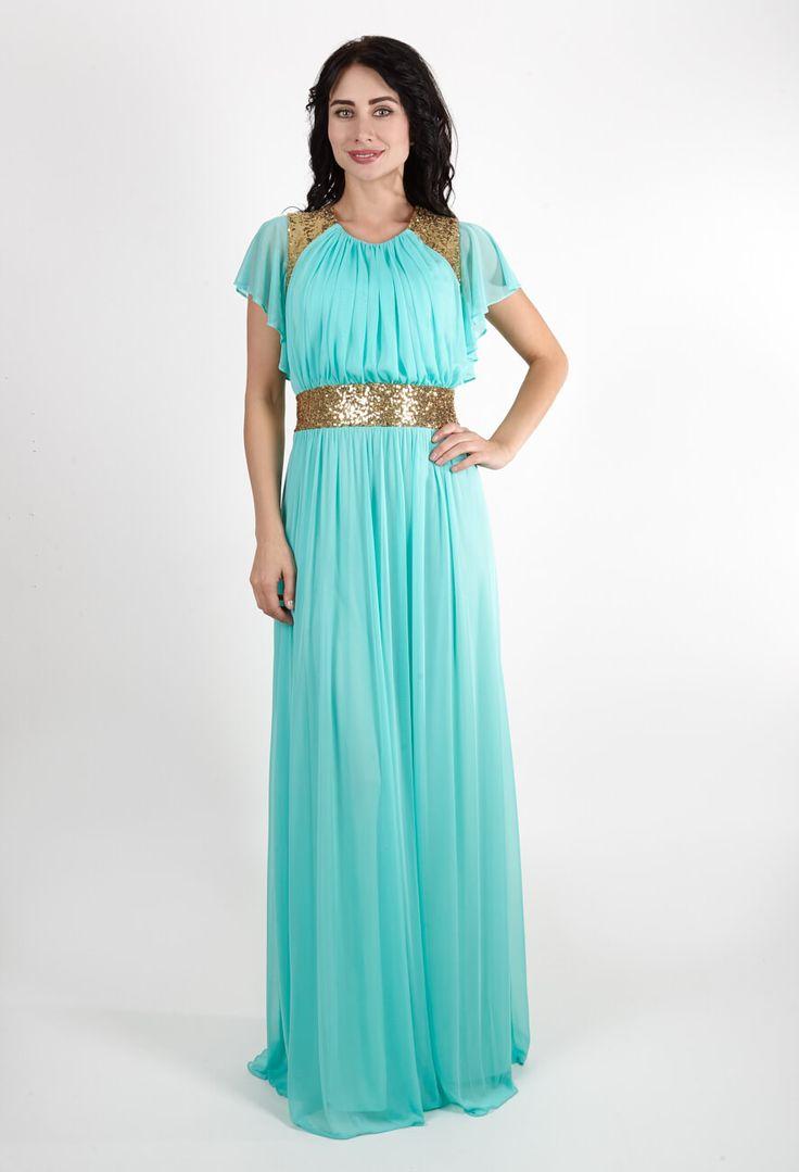 Мятное греческое платье   Mint Grecian dress