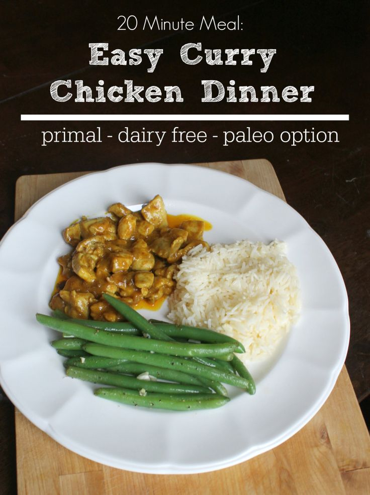20 Minute Meal Easy Curry Chicken Dinner (Prima, Dairy Free, Paleo Option)