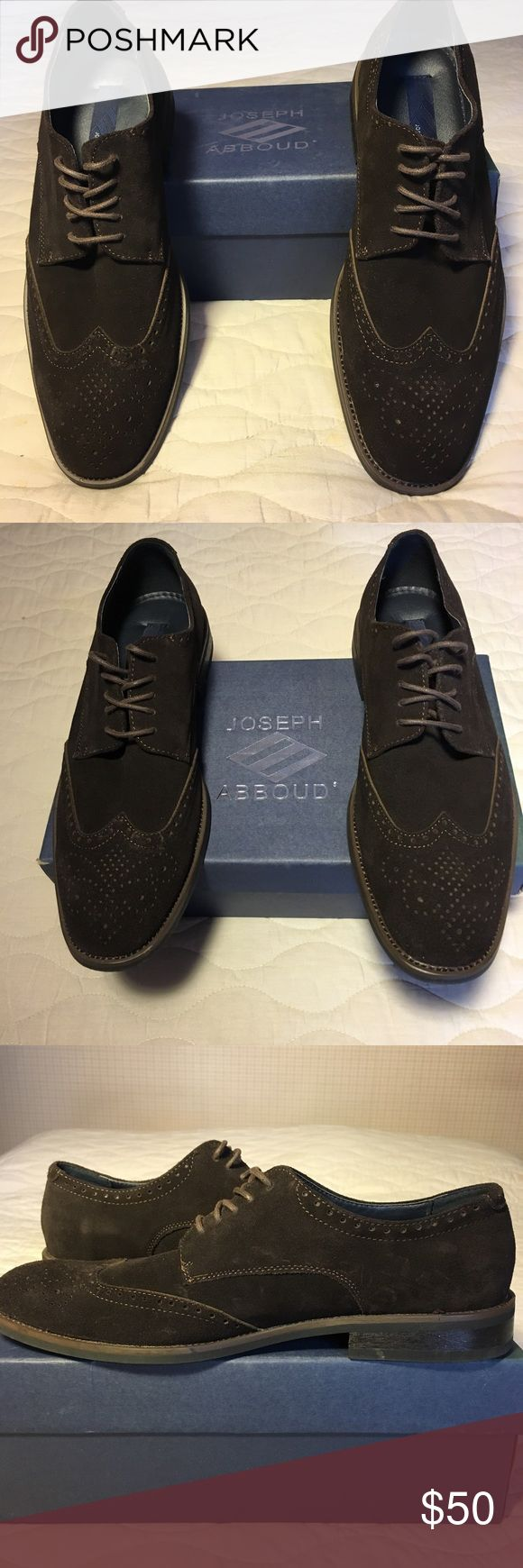 Brown suede Joseph Abboud shoes Beautiful suede shoes. Aside from the typical wear on the bottoms, in excellent condition. Original box. Joseph Abboud Shoes Oxfords & Derbys