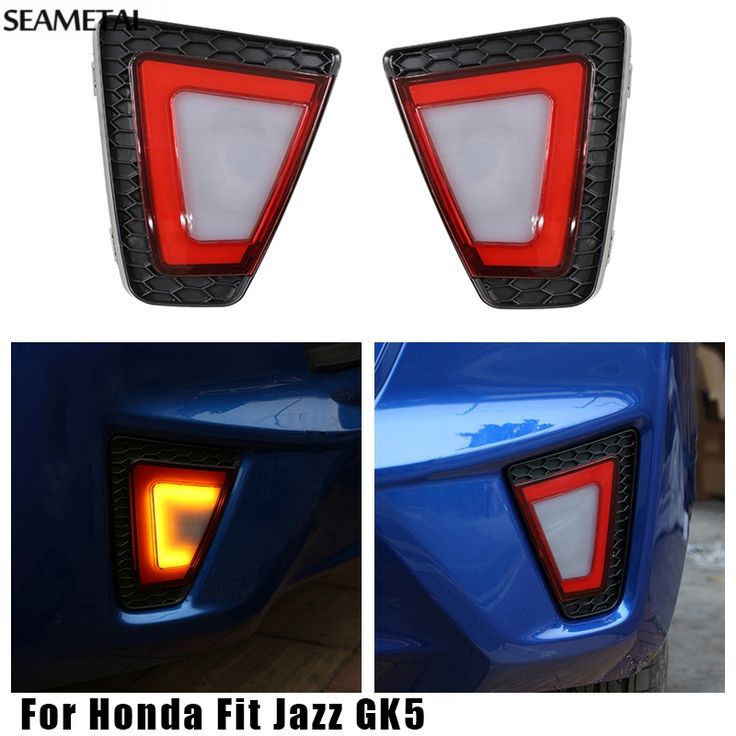 59.99$  Buy now - http://alimyu.worldwells.pw/go.php?t=32700236873 - For Honda Fit Jazz GK5 2014 2015 2016 Car LED Rear Bumper Lights Reflector External Decoration Auto Accessories Car-styling