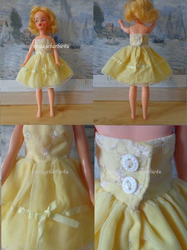 Vintage Marjie Pullam Clone Dress Yellow Intricate Design ~ Tammy Judy Doll Size