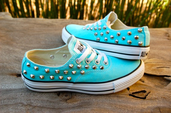 Studded Converse  Tiffany Blue Converse Low Top by ICaughtTheSun, $110.00