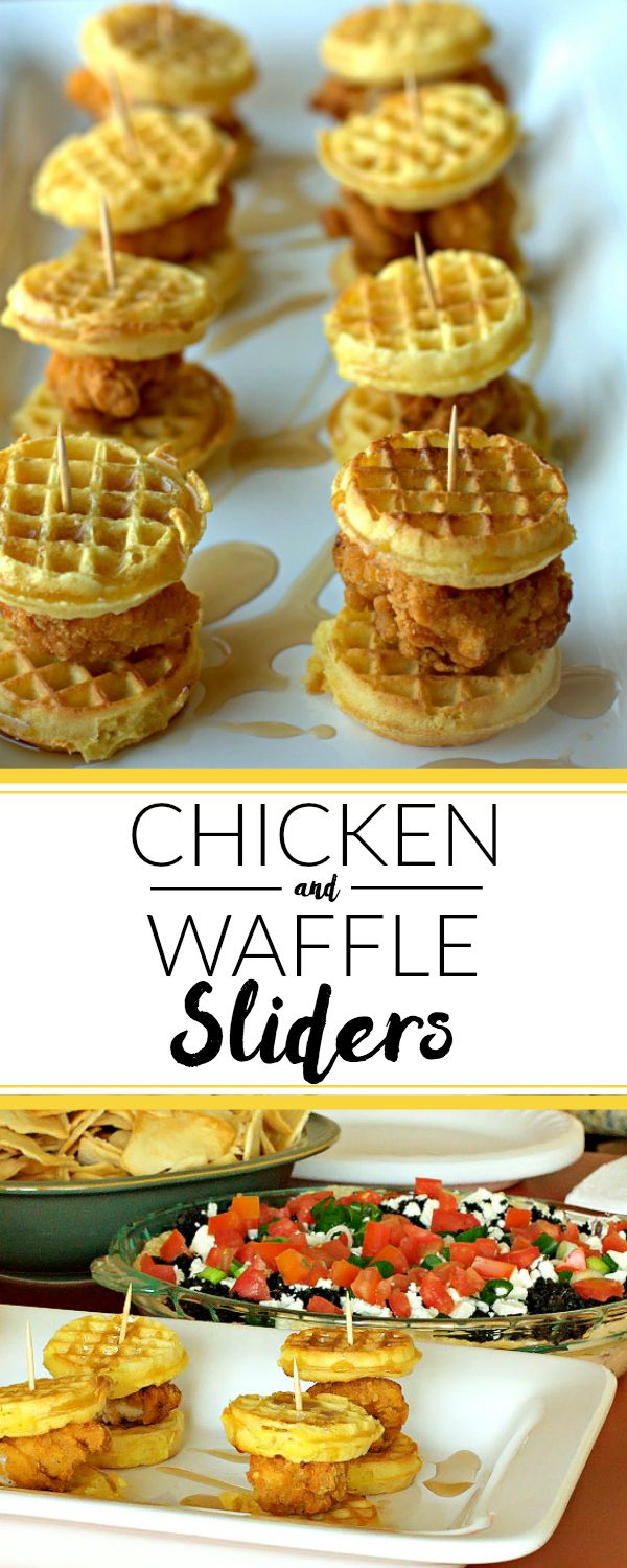Chicken & Waffle Sliders: Game day eats that are super quick & easy to make! Kid friendly, too!   quick and easy recipe   comfort food   appetizer recipe   Super Bowl Recipe   Super Bowl Appetizer   Super Bowl Food