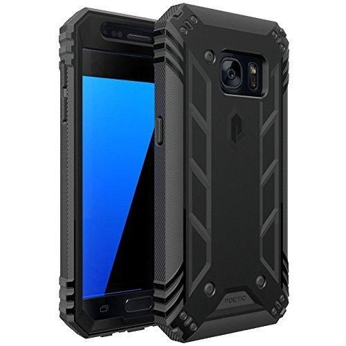 Galaxy S7 Case POETIC Revolution Series [Premium Rugged][Shock Absorption & Dust Resistant] Complete Protection Hybrid Case w/ Built-In Screen Protector for Samsung Galaxy S7 (2016) Black