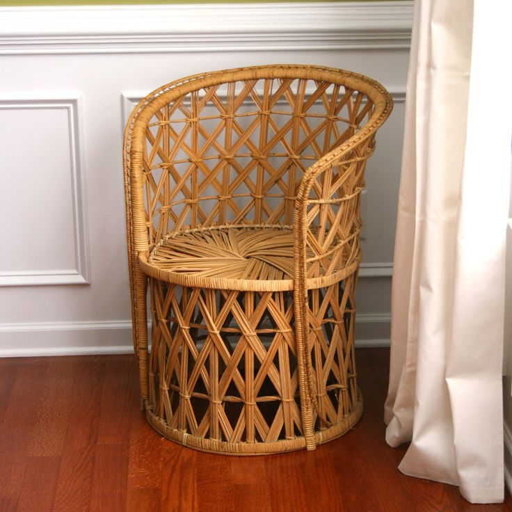 Vintage Rattan Chair. Summer Home Decor. Wicker. Geometric. Mid Century. Outdoor Alfresco Seating. Boho. Bohemian Chic. Rhapsodyattic.. $275.00, via Etsy.