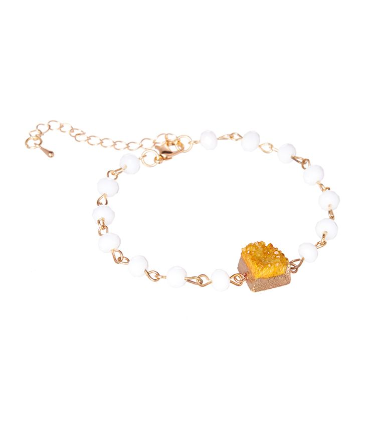 Yellow Quartz Drusy Square Station Bracelet