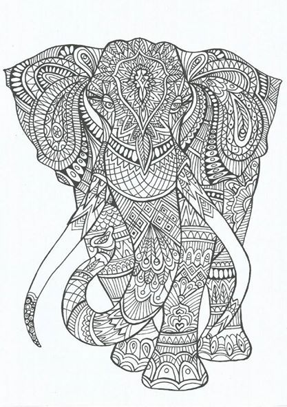 hippie elephant coloring pages - photo#5