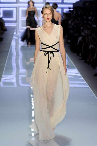 DIOR Spring 2012 Sheer Nude V-neck Gown With Black Lacing Detail