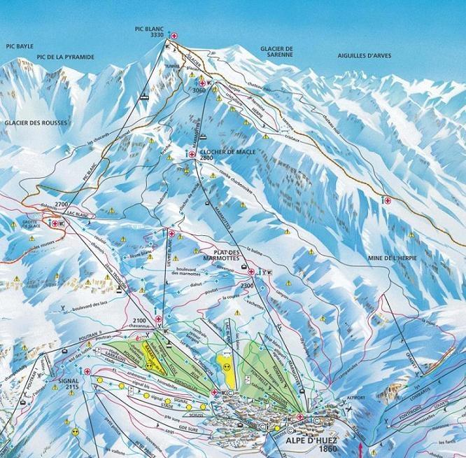 Alpe d'Huez, France - piste map
