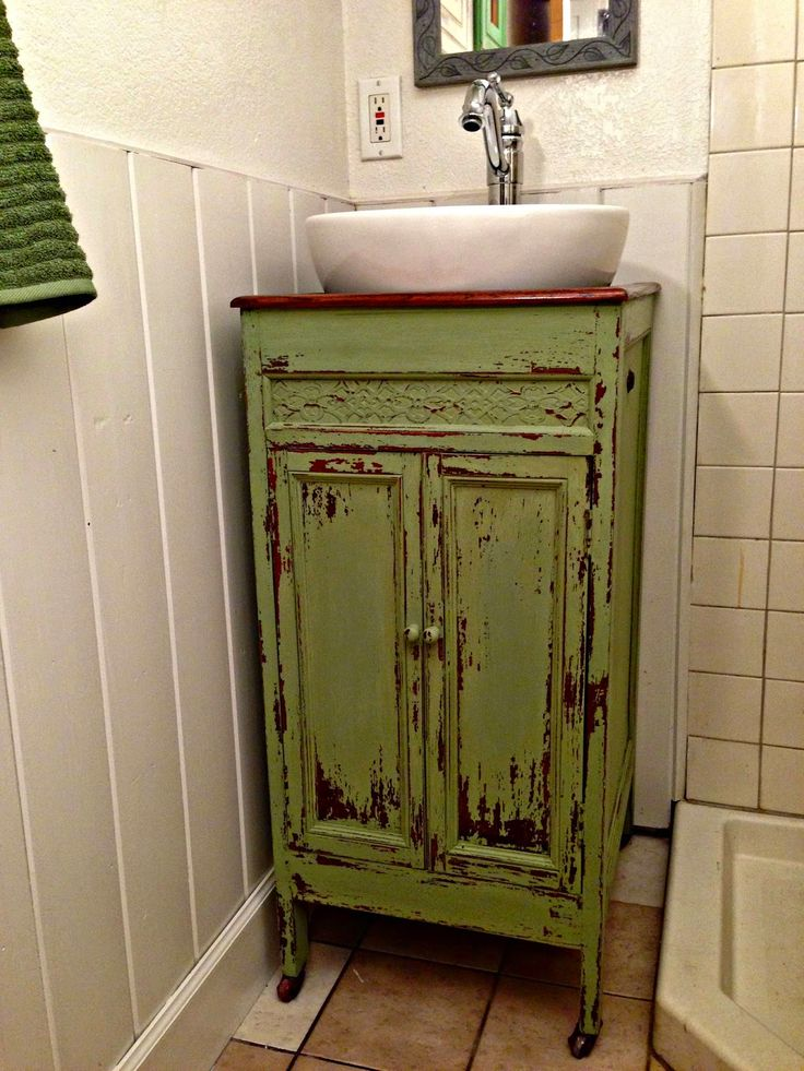 I have been looking for some sort of cabinet to turn into a vanity for our small guest bathroom for quite some time.  The problem is ...