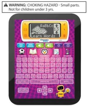 Modern Kids!  Loads of fun and learning.  Discovery Kids Toy, Learning Tablet. The Discovery Kids Bilingual Teach and Talk Tablet makes learning fun and easy with over 60 interactive activities. The Tablet allows kids to learn about history, sports, animals, music and much more. Perfectly compact, it is easily portable for car or plane rides, and fits into most backpacks.