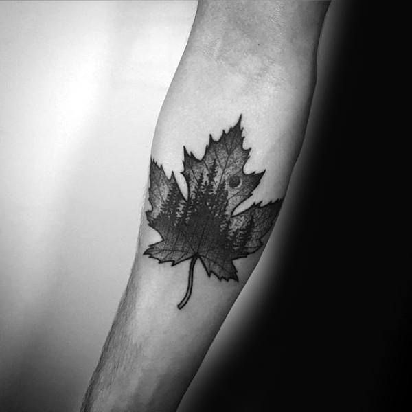 dotwork-nature-maple-leaf-mens-inner-forearm-tattoo-designs.jpg (600×600)