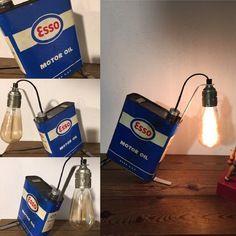 Le vieux bidon esso  vintage  par lampesoriginales .com